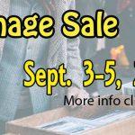 Garage sale Sept 3-5, 2020